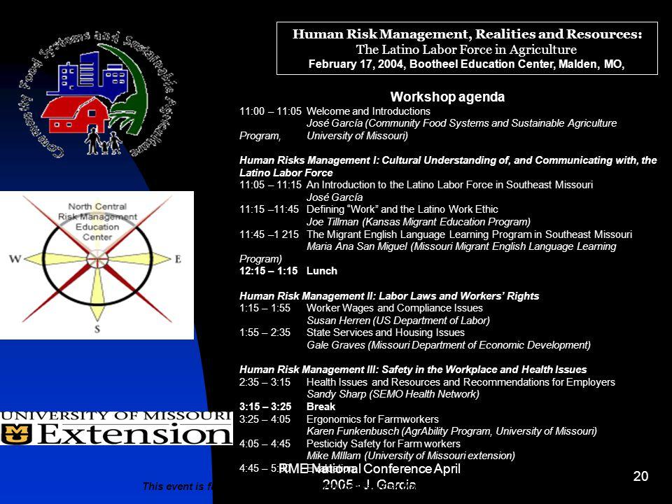 RME National Conference April 2005 - J.
