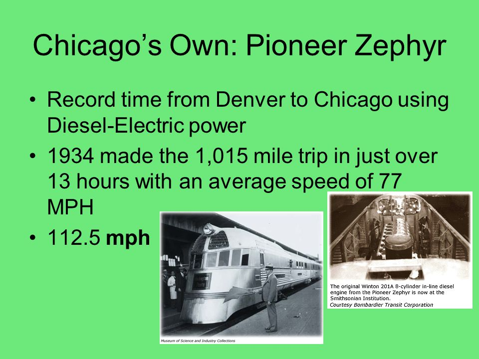 Zephyr's Locomotion The Pioneer Zephyr, like modern locomotives, is essentially an electric train that doesn t need overhead wires or a third rail.