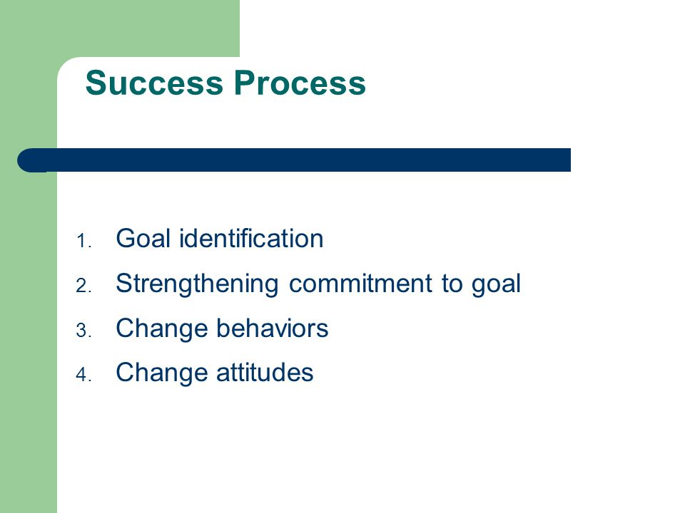 Success Process 1. Goal identification 2. Strengthening commitment to goal 3.