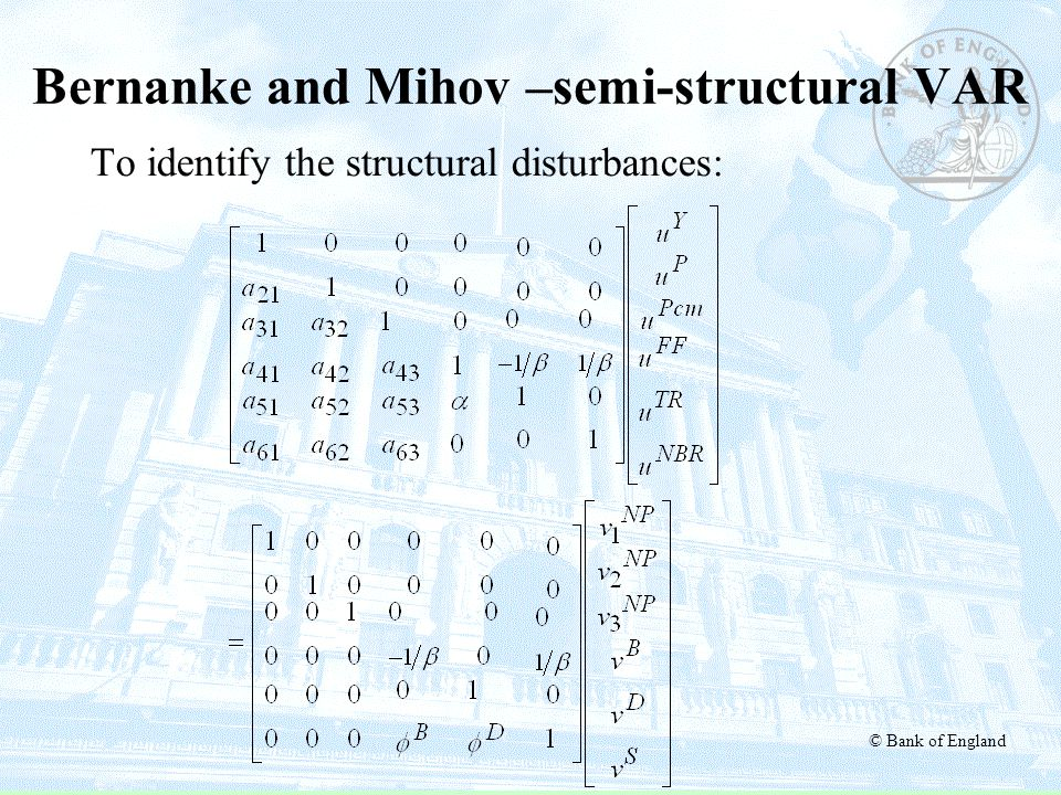 © Bank of England Bernanke and Mihov –semi-structural VAR To identify the structural disturbances: