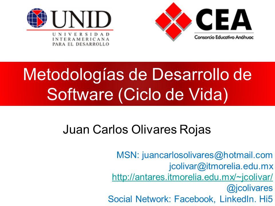 Metodologías de Desarrollo de Software (Ciclo de Vida) Juan Carlos Olivares Rojas MSN: juancarlosolivares@hotmail.com jcolivar@itmorelia.edu.mx http://antares.itmorelia.edu.mx/~jcolivar/ @jcolivares Social Network: Facebook, LinkedIn.
