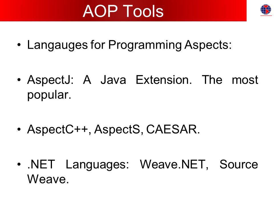 AOP Tools Langauges for Programming Aspects: AspectJ: A Java Extension.