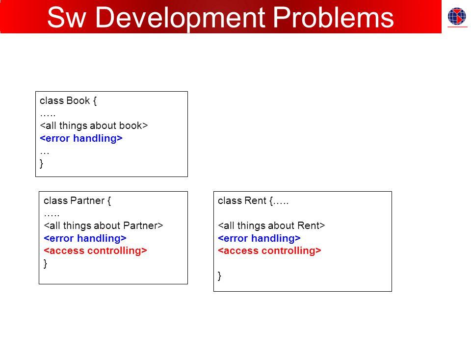 Sw Development Problems class Book { ….. … } class Partner { ….. } class Rent {….. }
