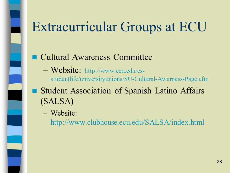 28 Extracurricular Groups at ECU Cultural Awareness Committee –Website: http://www.ecu.edu/cs- studentlife/universityunions/SU-Cultural-Awarness-Page.