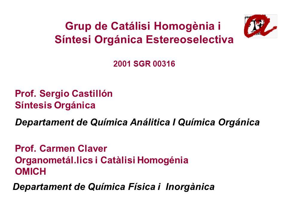 Departament de Química Física i Inorgànica Grup de Catálisi Homogènia i Síntesi Orgánica Estereoselectiva 2001 SGR 00316 Prof.