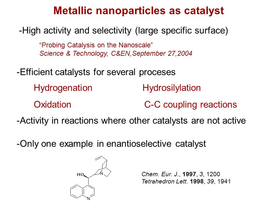 Metallic nanoparticles as catalyst Hydrogenation Hydrosilylation Oxidation C-C coupling reactions Chem.