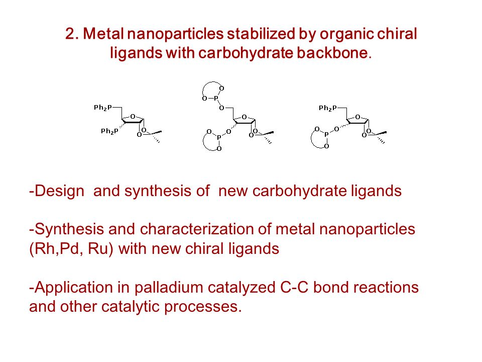 -Design and synthesis of new carbohydrate ligands -Synthesis and characterization of metal nanoparticles (Rh,Pd, Ru) with new chiral ligands -Application in palladium catalyzed C-C bond reactions and other catalytic processes.