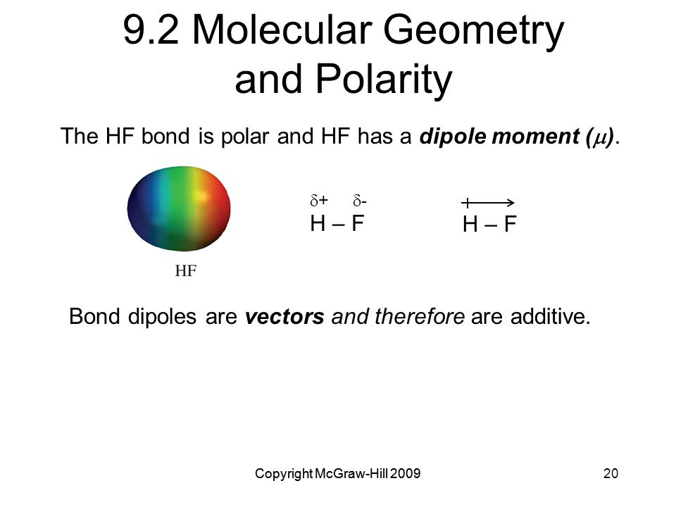 Copyright McGraw-Hill 200920Copyright McGraw-Hill 2009 9.2 Molecular Geometry and Polarity  +  - H – F Bond dipoles are vectors and therefore are additive.