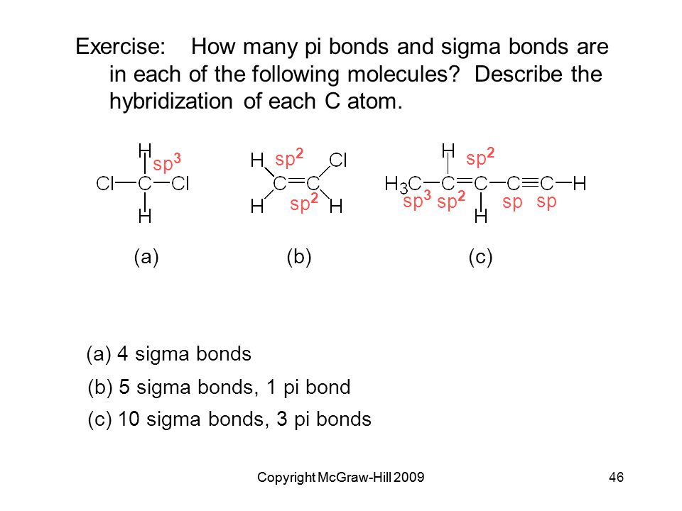 Copyright McGraw-Hill 200946Copyright McGraw-Hill 2009 Exercise:How many pi bonds and sigma bonds are in each of the following molecules.