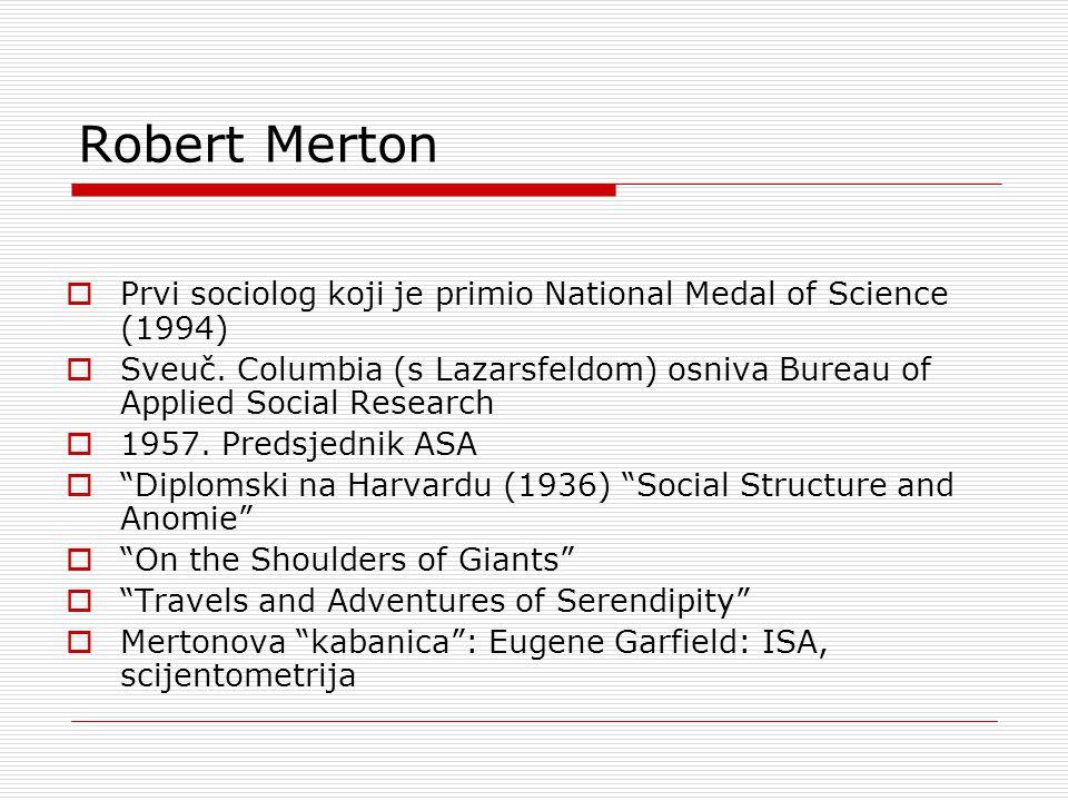 Robert Merton  Prvi sociolog koji je primio National Medal of Science (1994)  Sveuč.