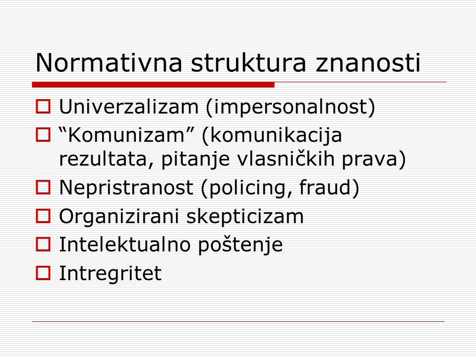 Normativna struktura znanosti  Univerzalizam (impersonalnost)  Komunizam (komunikacija rezultata, pitanje vlasničkih prava)  Nepristranost (policing, fraud)  Organizirani skepticizam  Intelektualno poštenje  Intregritet