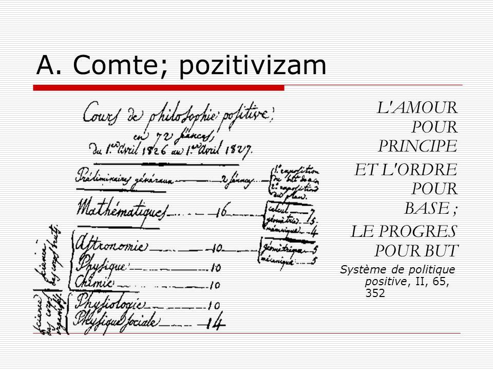 A. Comte; pozitivizam L'AMOUR POUR PRINCIPE ET L'ORDRE POUR BASE ; LE PROGRES POUR BUT Système de politique positive, II, 65, 352