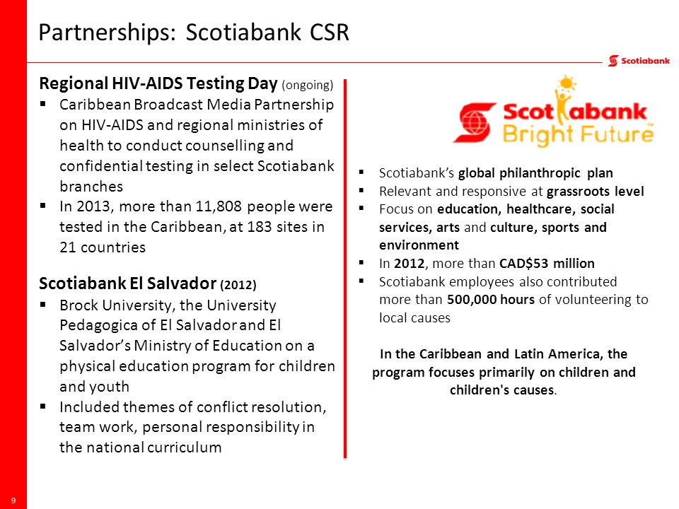 Partnerships: Scotiabank CSR Regional HIV-AIDS Testing Day (ongoing)  Caribbean Broadcast Media Partnership on HIV-AIDS and regional ministries of health to conduct counselling and confidential testing in select Scotiabank branches  In 2013, more than 11,808 people were tested in the Caribbean, at 183 sites in 21 countries Scotiabank El Salvador (2012)  Brock University, the University Pedagogica of El Salvador and El Salvador's Ministry of Education on a physical education program for children and youth  Included themes of conflict resolution, team work, personal responsibility in the national curriculum 9  Scotiabank's global philanthropic plan  Relevant and responsive at grassroots level  Focus on education, healthcare, social services, arts and culture, sports and environment  In 2012, more than CAD$53 million  Scotiabank employees also contributed more than 500,000 hours of volunteering to local causes In the Caribbean and Latin America, the program focuses primarily on children and children s causes.