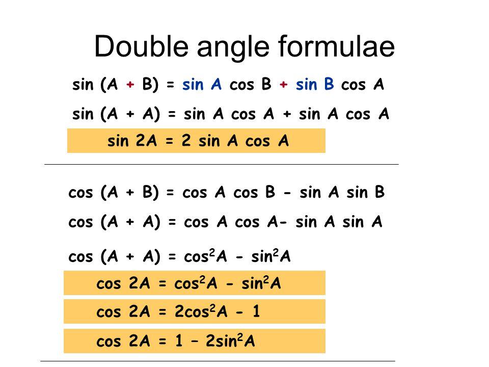Double angle formulae sin (A + B) = sin A cos B + sin B cos A sin (A + A) = sin A cos A + sin A cos A sin 2A = 2 sin A cos A cos (A + B) = cos A cos B - sin A sin B cos (A + A) = cos A cos A- sin A sin A cos (A + A) = cos 2 A - sin 2 A cos 2A = cos 2 A - sin 2 A cos 2A = 2cos 2 A - 1 cos 2A = 1 – 2sin 2 A