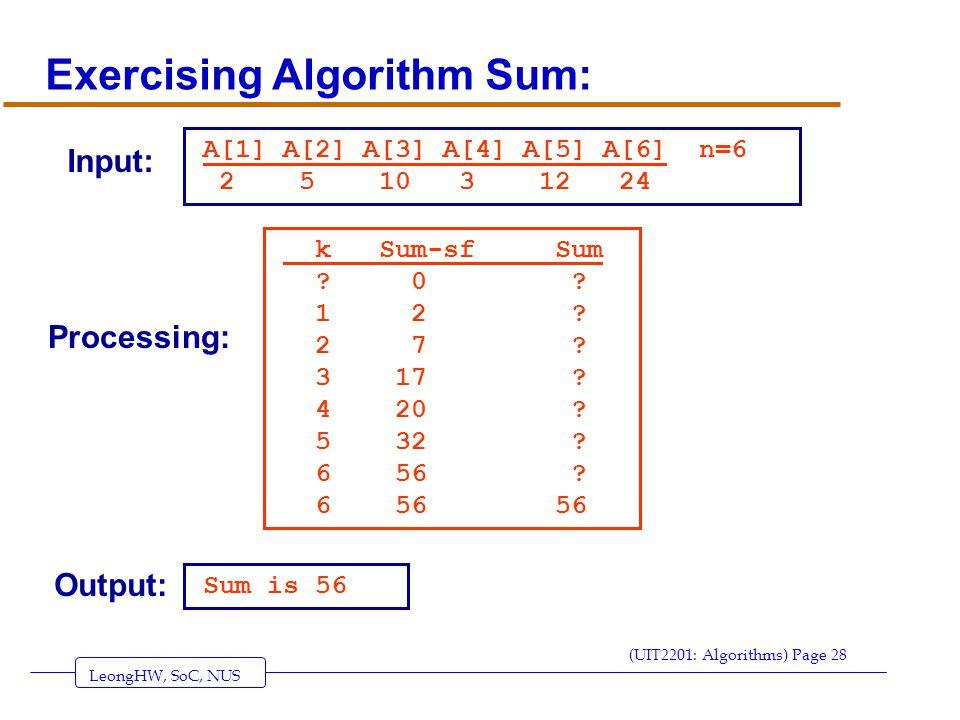 LeongHW, SoC, NUS (UIT2201: Algorithms) Page 28 Exercising Algorithm Sum: A[1] A[2] A[3] A[4] A[5] A[6] n=6 2 5 10 3 12 24 k Sum-sf Sum .
