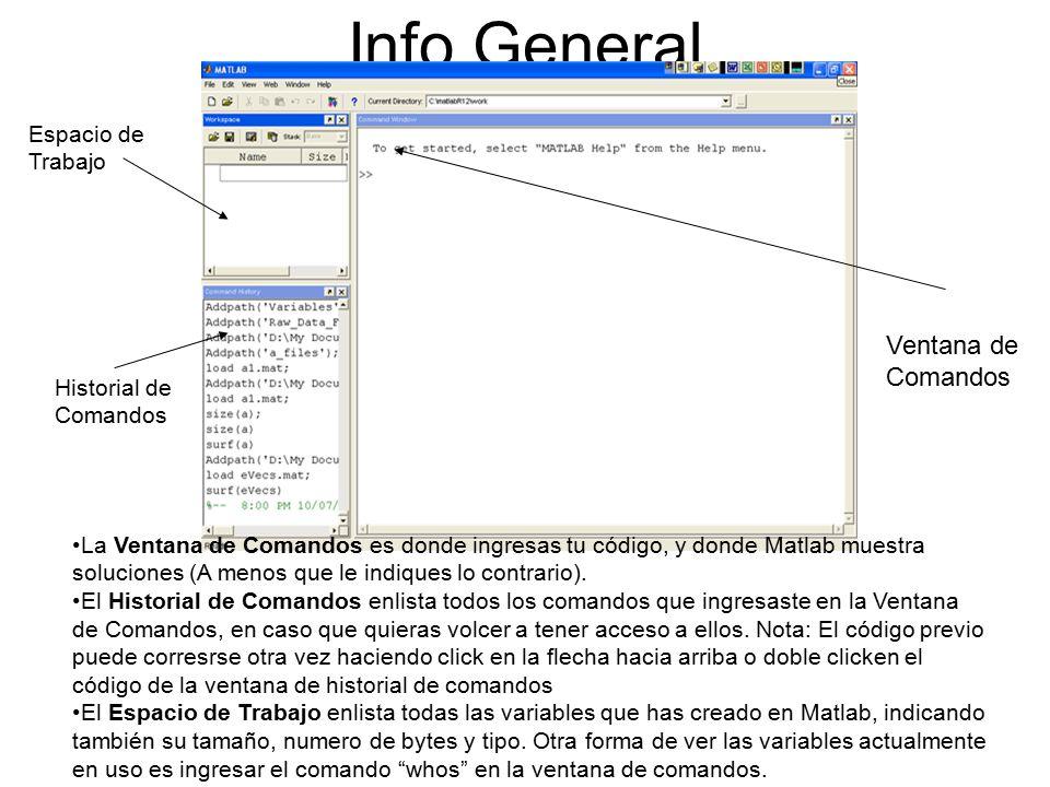 Info General Ventana de Comandos Espacio de Trabajo Historial de Comandos La Ventana de Comandos es donde ingresas tu código, y donde Matlab muestra soluciones (A menos que le indiques lo contrario).