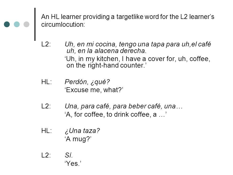 An HL learner providing a targetlike word for the L2 learner's circumlocution: L2: Uh, en mi cocina, tengo una tapa para uh,el café uh, en la alacena
