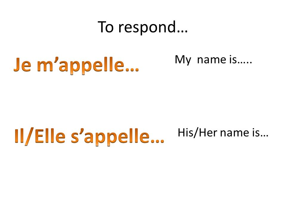 To respond… My name is….. His/Her name is…