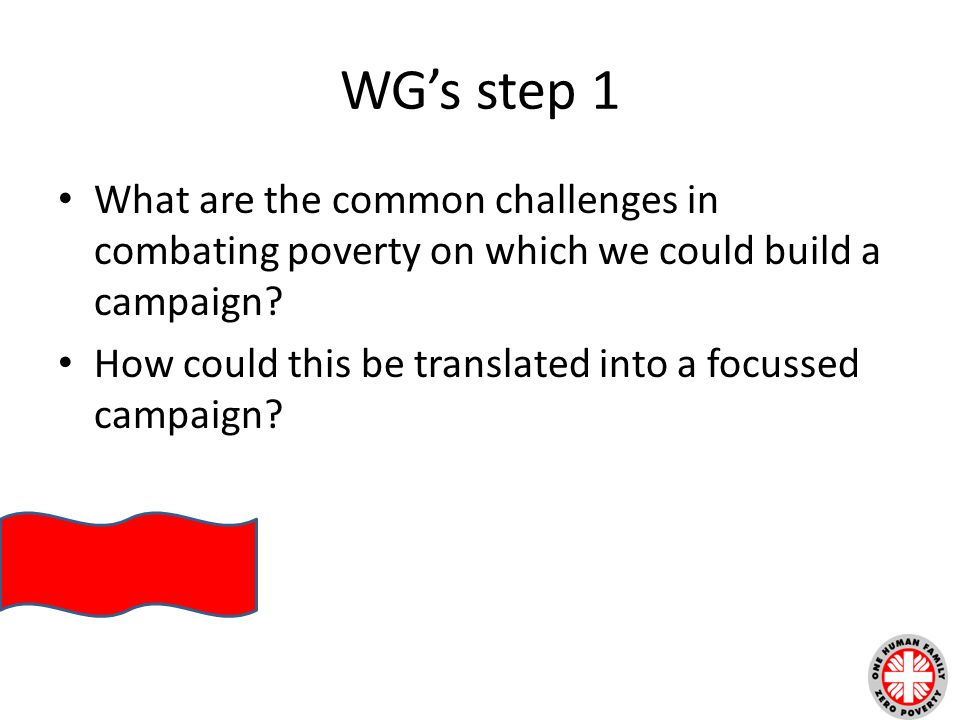 WG's step 1 What are the common challenges in combating poverty on which we could build a campaign.