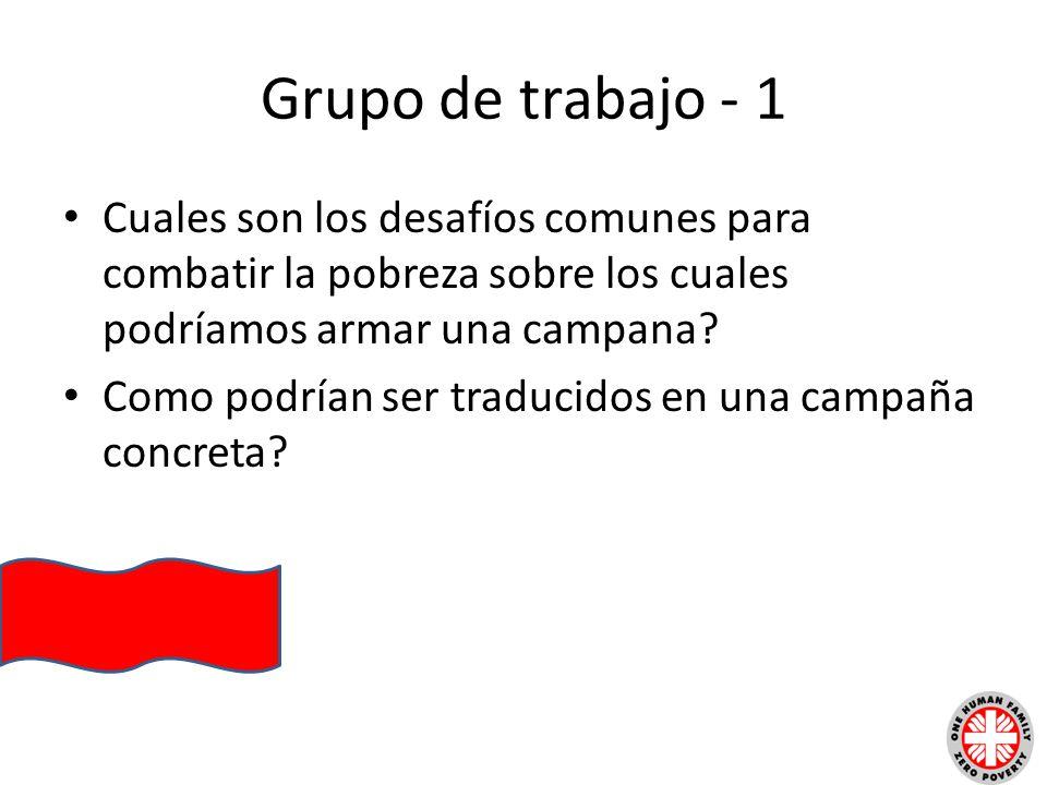 Grupo de trabajo - 1 Cuales son los desafíos comunes para combatir la pobreza sobre los cuales podríamos armar una campana? Como podrían ser traducido