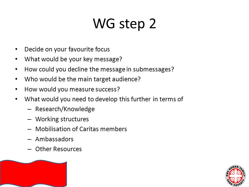 WG step 2 Decide on your favourite focus What would be your key message.