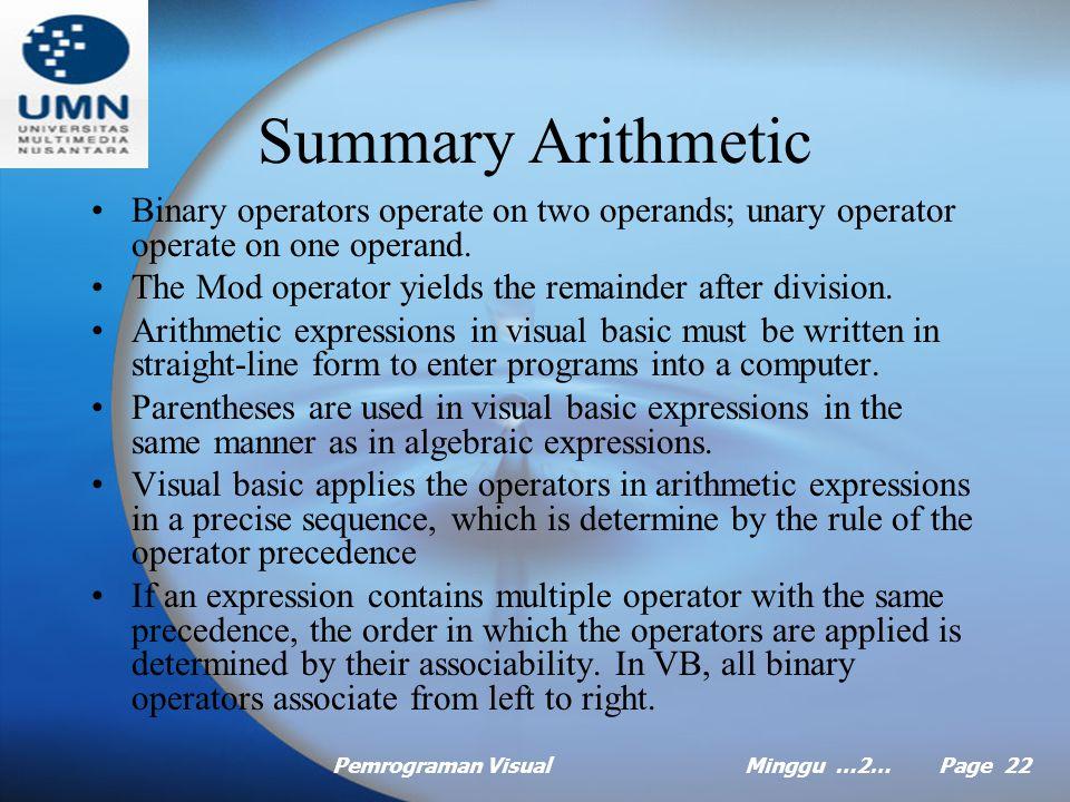 Pemrograman VisualMinggu …2… Page 21 Example Precedence of Arithmetic Operator