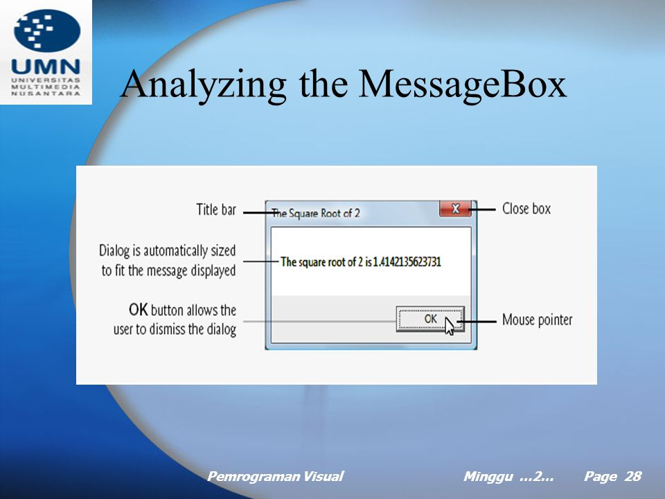 Pemrograman VisualMinggu …2… Page 27 Message dialog to display message (Continued …) Visual Basic provides class MessageBox for creating message dialogs Line 10 calls the Sqrt method of the Math class to compute the square root of 2.