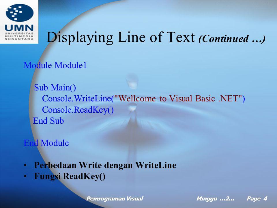 Pemrograman VisualMinggu …2… Page 4 Module Module1 Sub Main() Console.WriteLine( Wellcome to Visual Basic.NET ) Console.ReadKey() End Sub End Module Perbedaan Write dengan WriteLine Fungsi ReadKey() Displaying Line of Text (Continued …)
