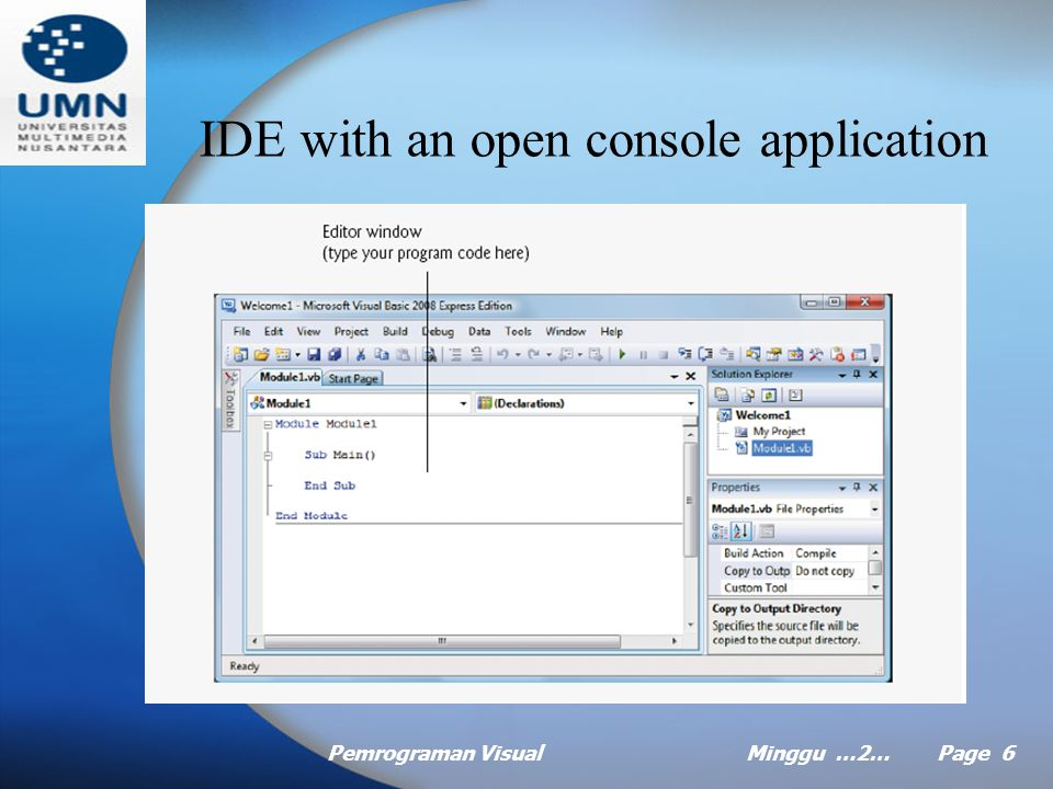 Pemrograman VisualMinggu …2… Page 26 Message dialog to display message