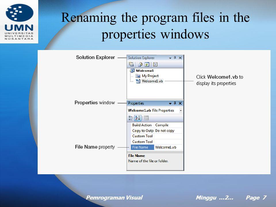 Pemrograman VisualMinggu …2… Page 7 Renaming the program files in the properties windows