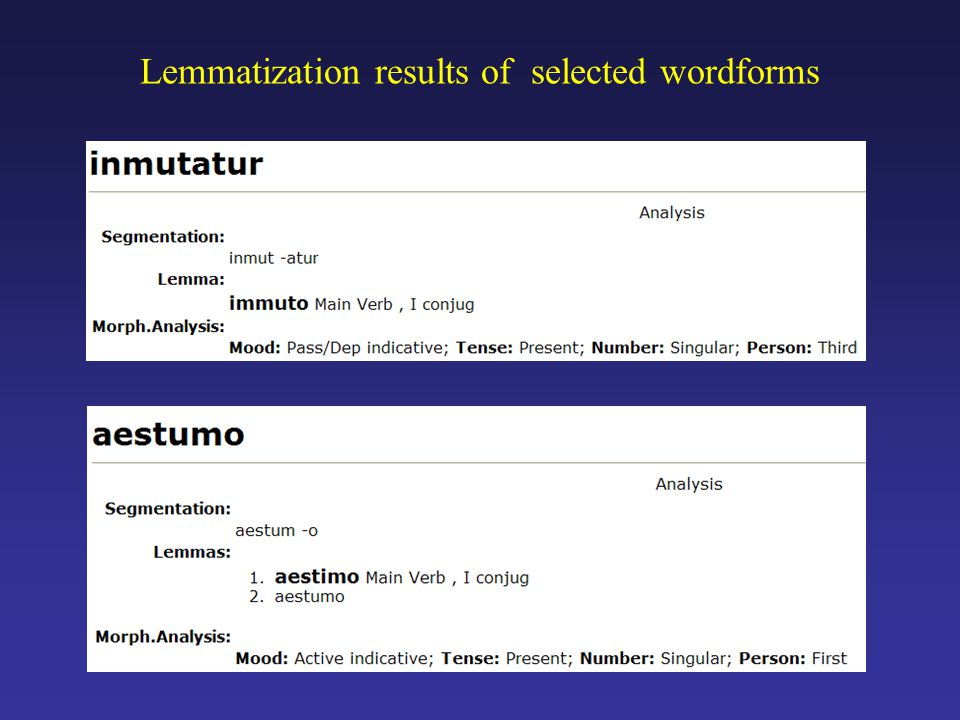 Lemmatization results of selected wordforms
