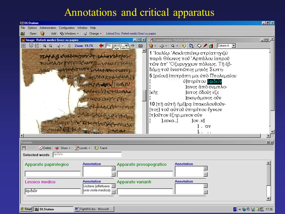 Annotations and critical apparatus