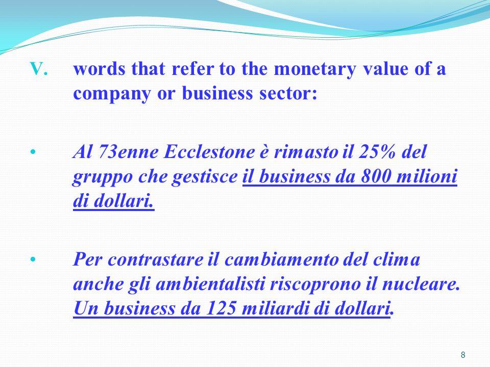 V. words that refer to the monetary value of a company or business sector: Al 73enne Ecclestone è rimasto il 25% del gruppo che gestisce il business d
