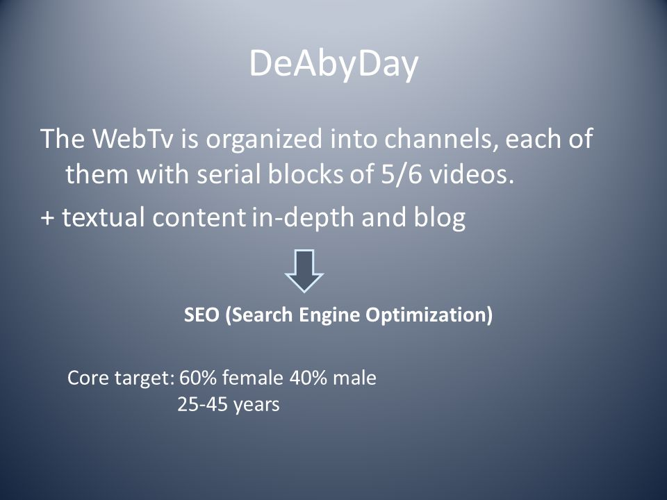 DeAbyDay The WebTv is organized into channels, each of them with serial blocks of 5/6 videos. + textual content in-depth and blog SEO (Search Engine O