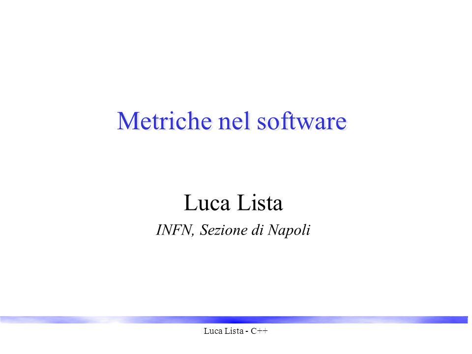 Luca Lista - C++ Metriche nel software Luca Lista INFN, Sezione di Napoli