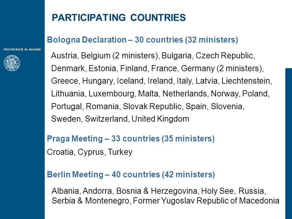Austria, Belgium (2 ministers), Bulgaria, Czech Republic, Denmark, Estonia, Finland, France, Germany (2 ministers), Greece, Hungary, Iceland, Ireland, Italy, Latvia, Liechtenstein, Lithuania, Luxembourg, Malta, Netherlands, Norway, Poland, Portugal, Romania, Slovak Republic, Spain, Slovenia, Sweden, Switzerland, United Kingdom Bologna Declaration – 30 countries (32 ministers) Praga Meeting – 33 countries (35 ministers) Croatia, Cyprus, Turkey Albania, Andorra, Bosnia & Herzegovina, Holy See, Russia, Serbia & Montenegro, Former Yugoslav Republic of Macedonia Berlin Meeting – 40 countries (42 ministers) PARTICIPATING COUNTRIES