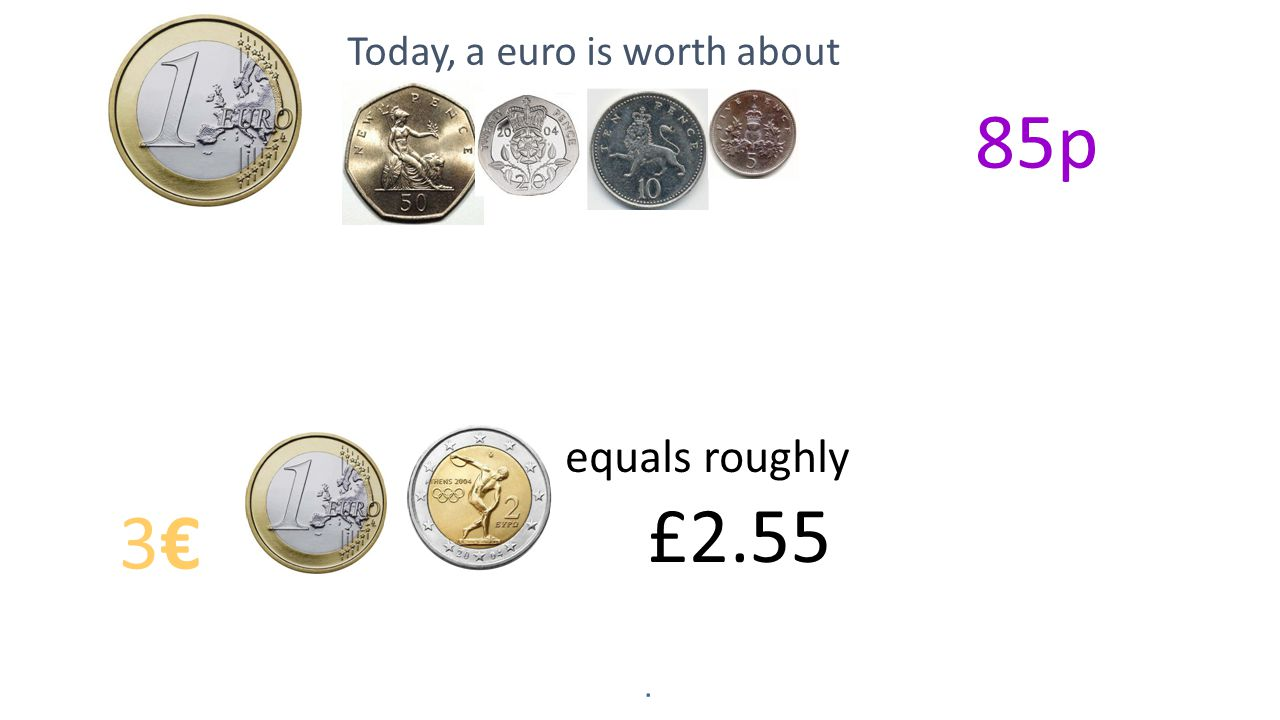 . Today, a euro is worth about 3€3€ 85p equals roughly £2.55