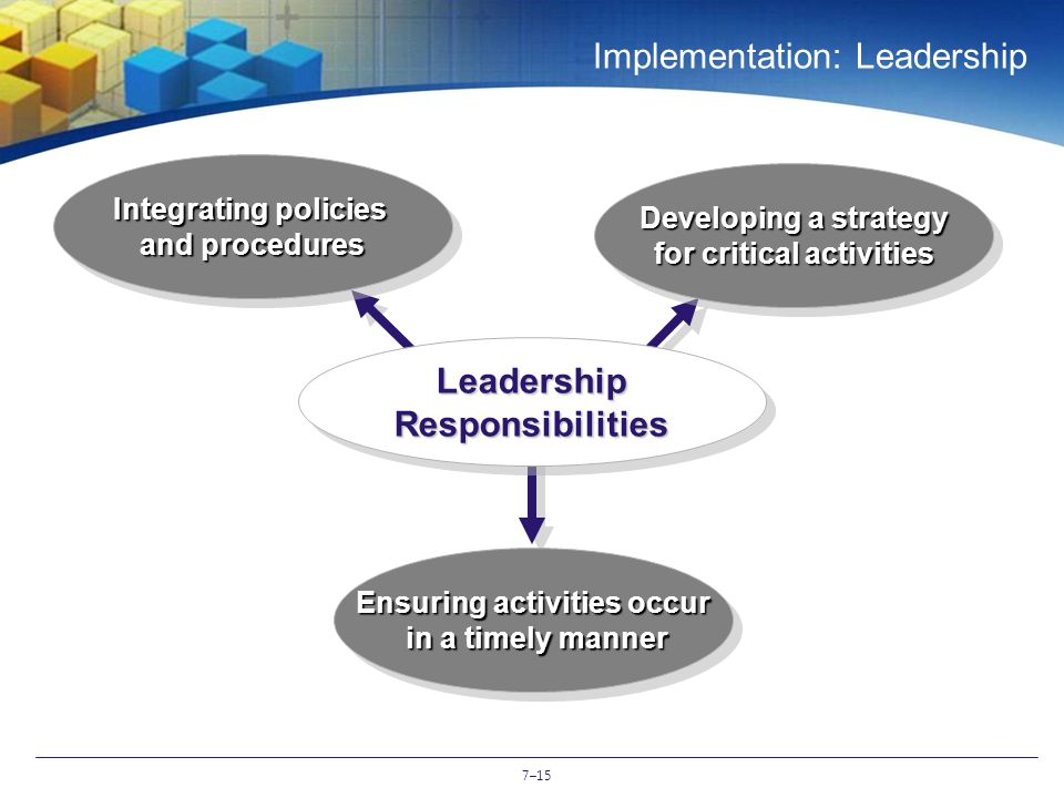 7–15 Implementation: Leadership Ensuring activities occur in a timely manner Integrating policies and procedures Developing a strategy for critical activities Leadership Responsibilities