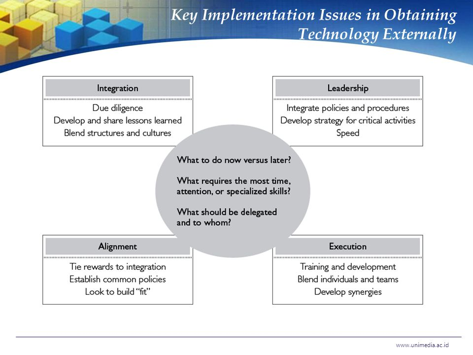 Key Implementation Issues in Obtaining Technology Externally