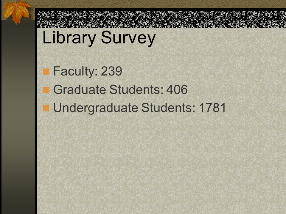 Library Survey Faculty: 239 Graduate Students: 406 Undergraduate Students: 1781