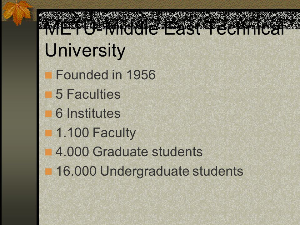 METU-Middle East Technical University Founded in 1956 5 Faculties 6 Institutes 1.100 Faculty 4.000 Graduate students 16.000 Undergraduate students