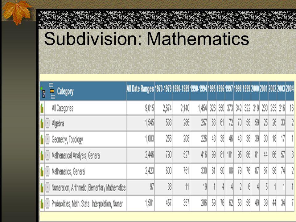 Subdivision: Mathematics