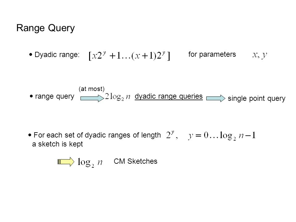 Range Query  Dyadic range: for parameters  range query dyadic range queries single point query (at most)  For each set of dyadic ranges of length a sketch is kept CM Sketches