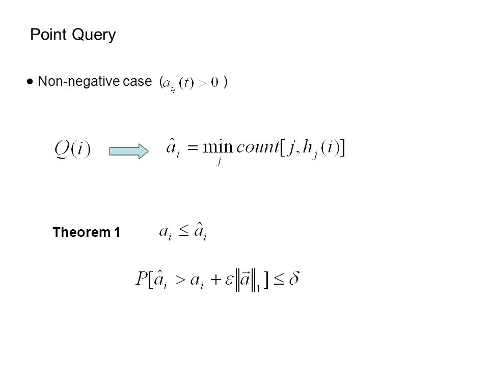 Point Query  Non-negative case ( ) Theorem 1