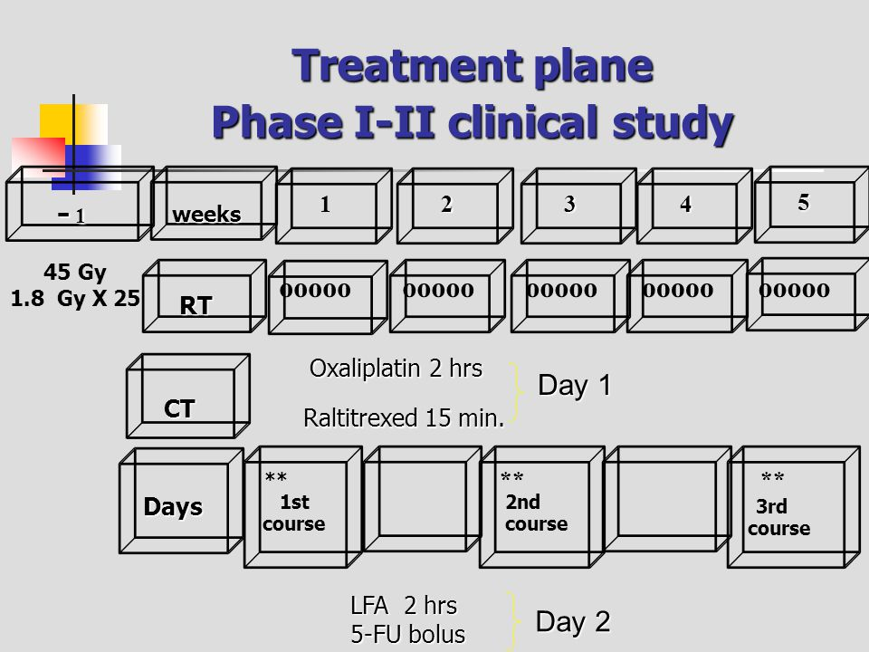 Treatment plane Phase I-II clinical study RT weeks 1234 5 - 1- 1- 1- 1 45 Gy 1.8 Gy X 25 Days CT ** 1st course ** 2nd course ** 3rd course Raltitrexed 15 min.
