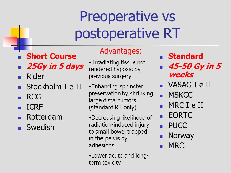 Preoperative vs postoperative RT Short Course 25Gy in 5 days Rider Stockholm I e II RCG ICRF Rotterdam Swedish Standard 45-50 Gy in 5 weeks VASAG I e