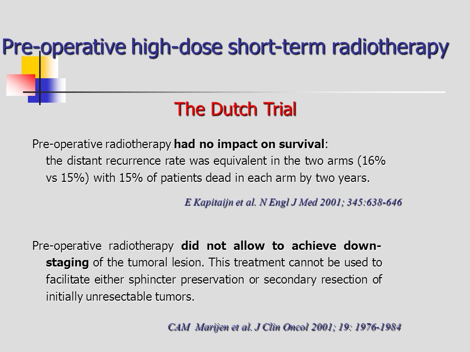 Pre-operative high-dose short-term radiotherapy Pre-operative radiotherapy had no impact on survival: the distant recurrence rate was equivalent in th