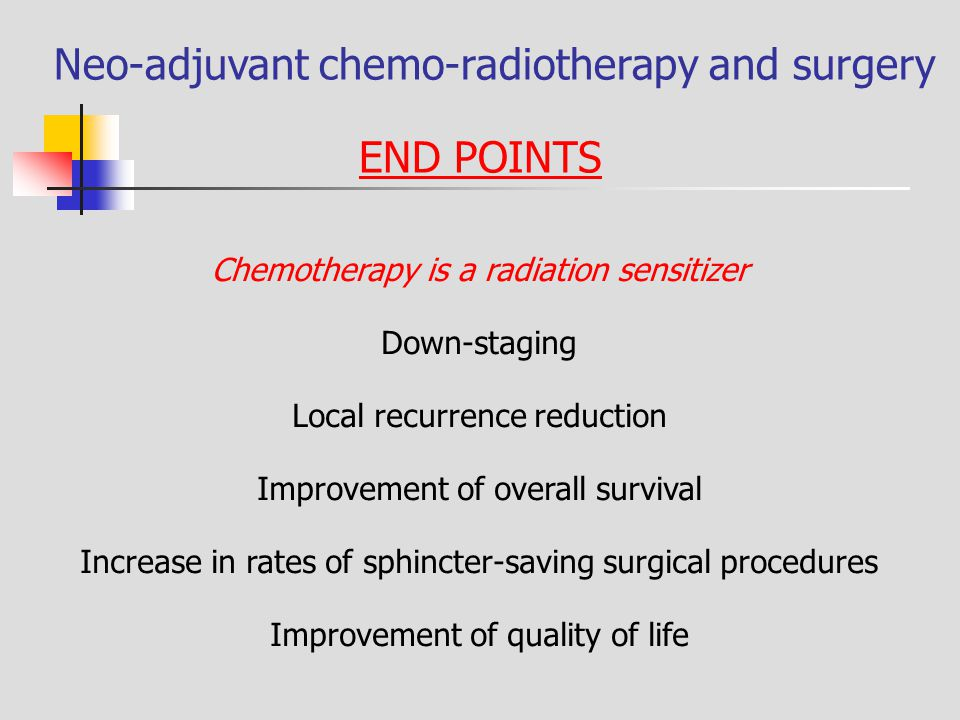 Neo-adjuvant chemo-radiotherapy and surgery END POINTS Chemotherapy is a radiation sensitizer Down-staging Local recurrence reduction Improvement of o
