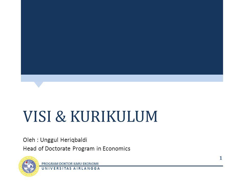 PROGRAM DOKTOR ILMU EKONOMI UNIVERSITAS AIRLANGGA VISI & KURIKULUM Oleh : Unggul Heriqbaldi Head of Doctorate Program in Economics 1