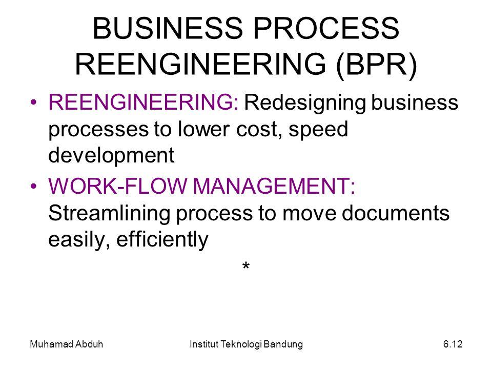 Muhamad AbduhInstitut Teknologi Bandung6.12 BUSINESS PROCESS REENGINEERING (BPR) REENGINEERING: Redesigning business processes to lower cost, speed de